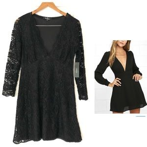 NWT LULU's Plunging Neckline Long Sleeve Dress
